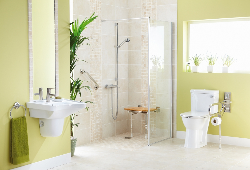 Stylish accessible wet floor showers design fit more for Disabled wet room bathroom design